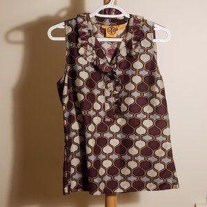 Tory Burch Purple Printed Silk Top (Size 8)